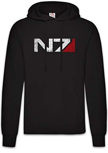 Urban Backwoods N7 Logo Hoodie Sudadera con Capucha Sweatshirt Negro Talla L