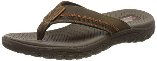 Skechers Men's REGGAE COBANO Flip Flops, Brown (Brown Leather BRN), 9.5 (44 EU)