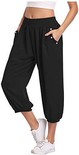 Dilgul Women's Capri Harem Pants Elastic High Waist Loose Baggy Fit Tummy Control for Yoga Joggers Jogging Workout Black