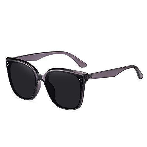 APCHY 2021 Nuevas Gafas De Sol De Gran Tamaño para Hombres Y Mujeres Decoración De Lentes De Nailon De Moda Vintage Protección Ultraligera UV400 para Conducir Viajes,Gris