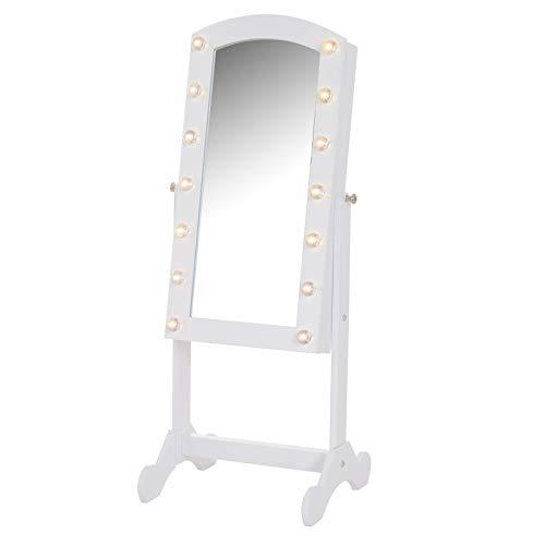 Homcom Armoire à Bijoux avec Miroir sur Pied Multi-rangements Inclinaison réglable éclairage LED dim.32L x 29l x 81H cm Blanc