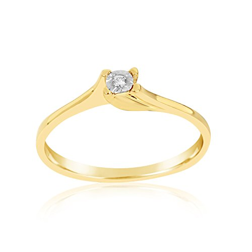 MILLE AMORI ∞ Anillo Mujer Compromiso Oro y Diamantes - Oro Amarillo 9 Kt 375 ∞ Diamantes 0.01 Kt