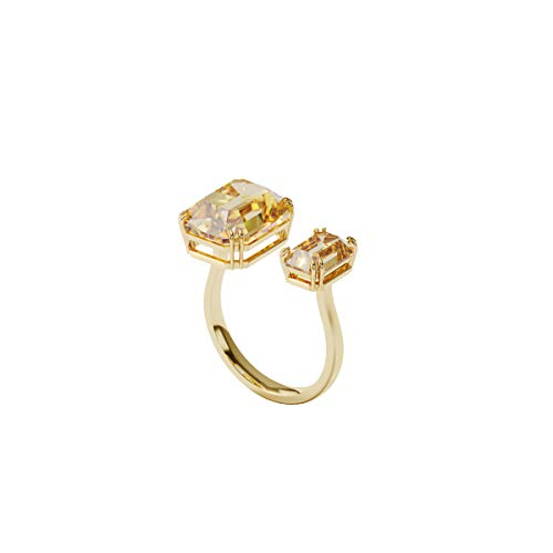 Swarovski Anillo de cóctel Millenia, Cristales de talla cuadrado, Amarillo, Baño tono oro