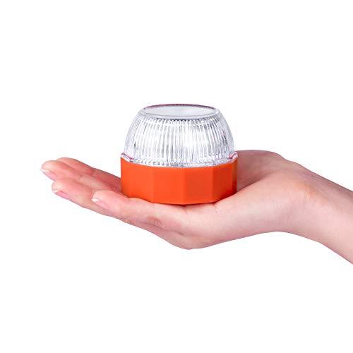 VAZILLIO Luz de Emergencia, Señal V16 de Preseñalización de Peligro Homologada y Linterna, Alta Luminancia Luz Magnética Led, Luz Emergencia Coche, para Coches y Motocicletas -Naranja