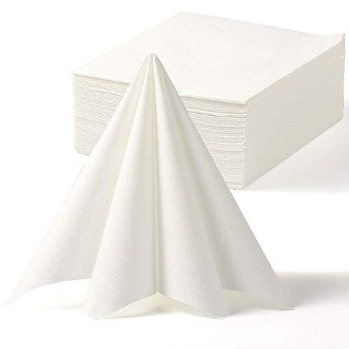 LEKOCH Tovagliolo Dinner Feel in lino con asciugamano monouso Decorativo  Asciugamani di carta per matrimoni Ristorante Feste in cucina   40 cm x 40 cm Confezione da 50 pezzi(Bianco)