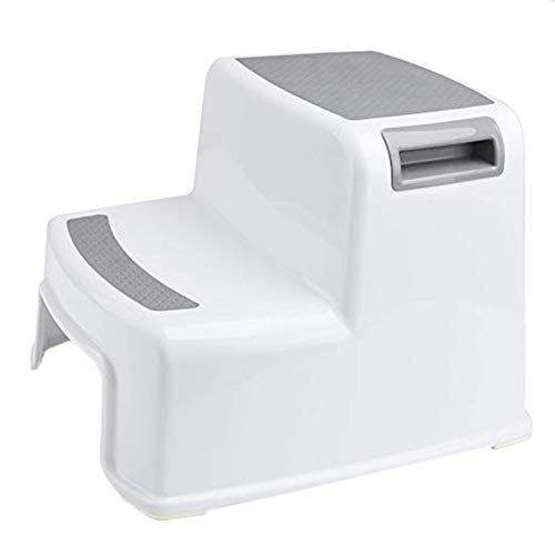 Huante - Taburete grande + 2 taburetes para niños para tocador de baño, agarre suave, resistente al deslizamiento, taburete para cuarto de baño y cocina, escalera doble altura