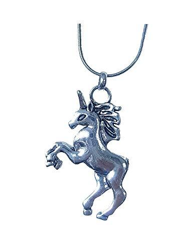 Collar largo con colgante de unicornio y caballo.