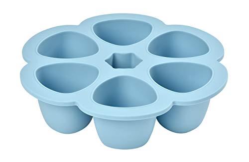 BÉABA, Multiportions Silicone de qualité premium, Résistance thermique extrême, Four et micro-onde, 6 alvéoles indépendantes, Couvercle hermétique, Fabriqué en Italie, 6x150 ml, Bleu