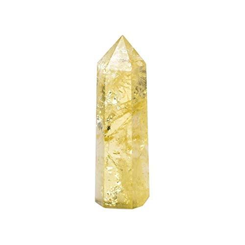 CHANGFUSHEN 1pc Natural Crystal Point Citrina Amarillo Varita de Cuarzo Hermoso Adorno para la decoración del hogar Pirámide de Piedra (Color : Amarillo, Size : 71-80mm)