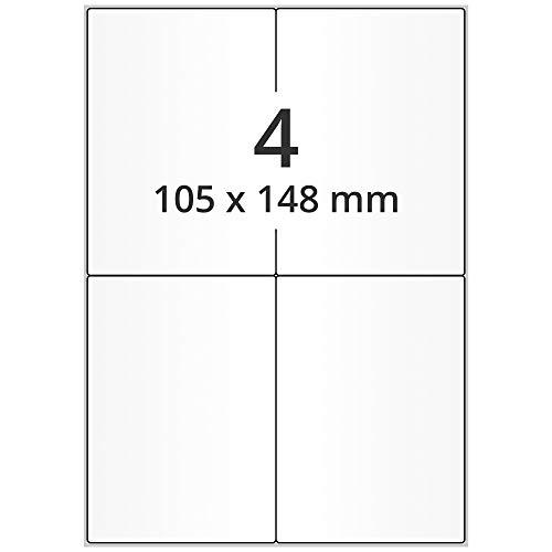 Labelident Laser-Etiketten auf DIN A4 Bogen - 105 x 148 mm - 2000 Versandetiketten selbstklebend DHL, 500 Blatt Papieretiketten weiß
