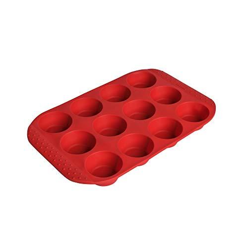Kaiser Flexo Silikon Muffinform für 12 Muffins, Silikonbackform 34x26 cm, Muffin Backblech antihaftbeschichtet, gefriergeeignet, mikrowellenfest, rot