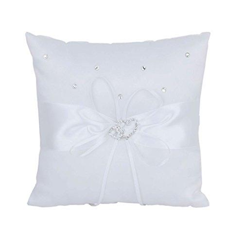 Pixnor Anello di nozze cuscino 20 * 20cm doppio cuore nuziale nozze cerimonia Pocket anello portatore cuscino cuscino (bianco)