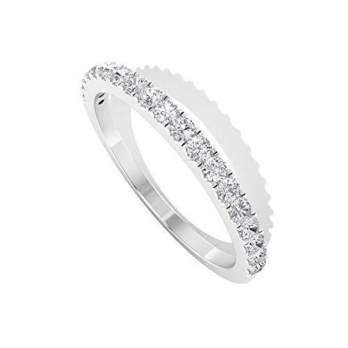 1/4 ct HI-SI Diamante Eternity Banda, Anillo Apilable para Mujer, Anillo Banda de Oro, 14K Oro blanco, Size:EU 62