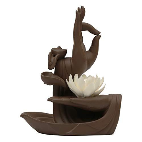 AILI Hogar Porta-inciensos Lotus Reflujo Quemador de Incienso cerámicos de Uso doméstico Reflujo Incienso Cono Quemador de aromaterapia Cubierta decoración Creativa del Horno Porta-inciensos