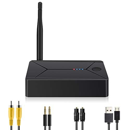Transmisor Bluetooth 2 en 1 Fibra Coaxial 3.5mm RCA Audio Inalámbrico de Baja Latencia Adaptador Bluetooth 5.0 Compatible con Teléfono Móvil TV PC Auricular Bluetooth Barra de Sonido
