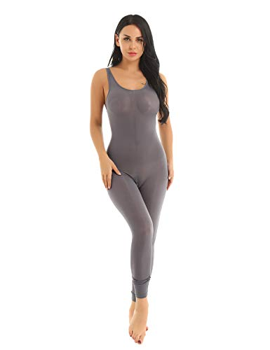 YiZYiF Womens Lingerie See Through Sheer Zipper Crotch Tank Leotard Bodysuit Tights Catsuit Grey One Size