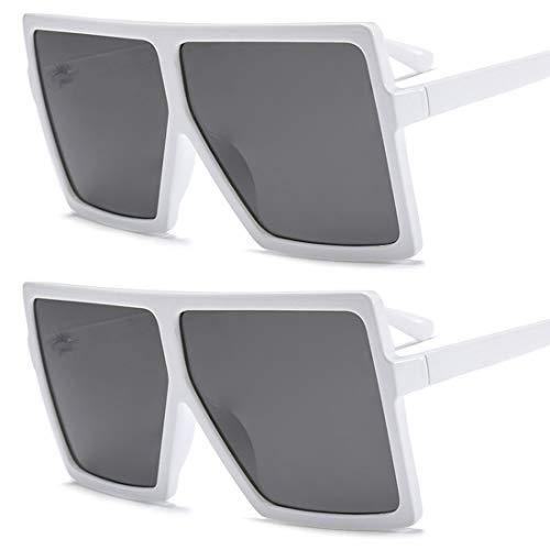 HFSKJ Paquete de 2 Gafas de Sol, Gafas de Sol con Montura Cuadrada Grande, Gafas de Sol para Mujer, Gafas de Sol de Moda para Todos los Partidos,C