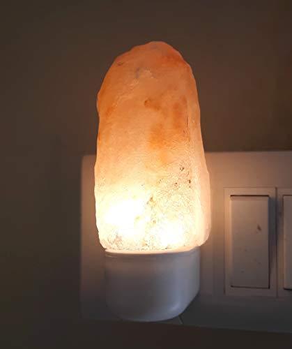 E-clickstore Lámpara de sal del Himalaya hecha a mano, piedra rosa de cristal grande natural del Himalaya regalo de luz nocturna enchufe en lámpara para baño, dormitorio