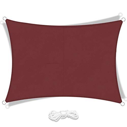 LIAOYI Toldo Vela de Sombra, Protección Rayos UV Impermeable Resistente Poliéster Toldo Vela para Patio Exteriores Jardín (2×3m, Rojo Oscuro)