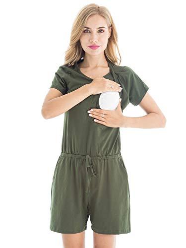 Bearsland Women's Maternity Nursing Jumpsuits Elastic Waist Breastfeeding Romper Playsuits Shirts,ArmyGreen,XL