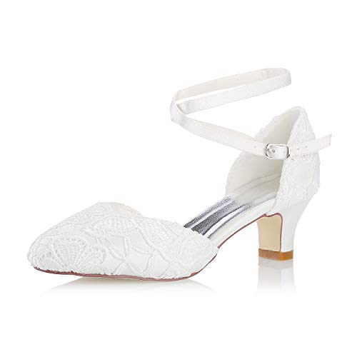 Mrs White Damen Brautschuhe 00967 Geschlossene Zehen Chunky Heel Spitze Satin Pumps Hochzeitsschuhe, Elfenbein, 39 EU