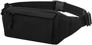 TOOGOO Fashion Men's Vintage Fanny Pack Chest Shoulder Bag with 3 Pockets Nylon Minitary Multifunction Waist Belt Bum Bag school Black