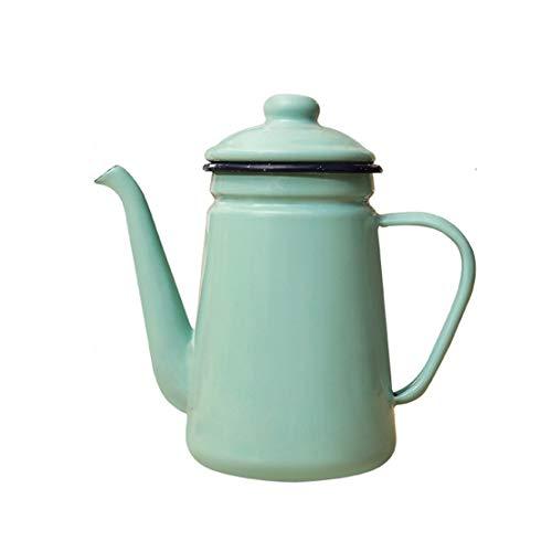 Bollitore Smalto Bollitore Vintage Coffee Pot Acqua teiera 0.9L / 1.5L for l'induzione piano cottura o una stufa a gas superiore, pentola dell'olio con filtro anti-scottatura verde chiaro maniglia