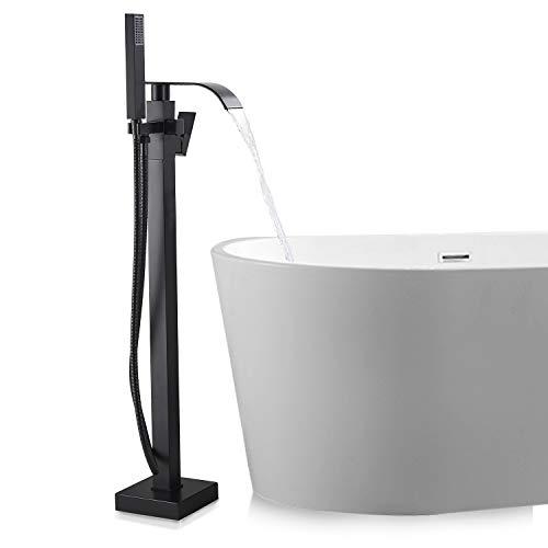 SUGU Schwarz Messing Freistehende Badewanne Wasserhahn Wanne Mischbatterie Handbrause Badezimmer Dusche Set Wasserhahn