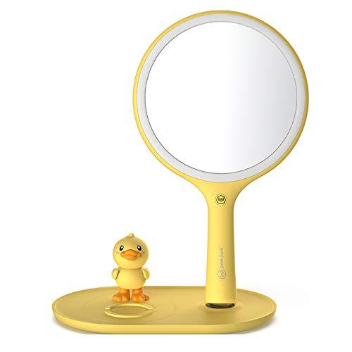 FYQF Petite LED de Canard Jaune Miroir de Maquillage de Charge sans Fil Amovible Réglage Multi-Angle pour Chambre à Coucher,Jaune