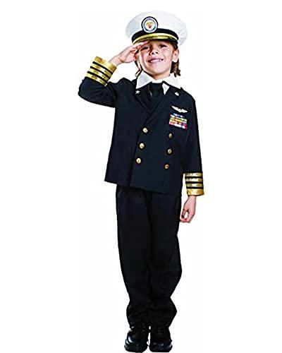 Dress Up America Costume d'amiral de la marine pour enfant 4-6 ans (Taille 28-30 Pouces, Hauteur 39-45 Pouces) Small Noir