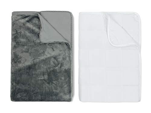 npluseins Therapiedecke mit Wendebezug - Gewichtsdecke 135x200 cm 1439.2179, Heavy [10 kg] - Körpergewicht 90-109 kg, anthrazit
