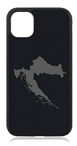 Kompatibel mit iPhone 11 Kroatien Karte Flagge Fahne Mattschwarz Schwarz Handyhülle Case Cover Hülle Silikon