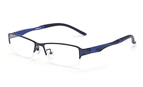 LUOMON Non-Prescription Plain Glasses for Men Half Rimless Business Eyeglasses with Titanium Alloy Frame EG002