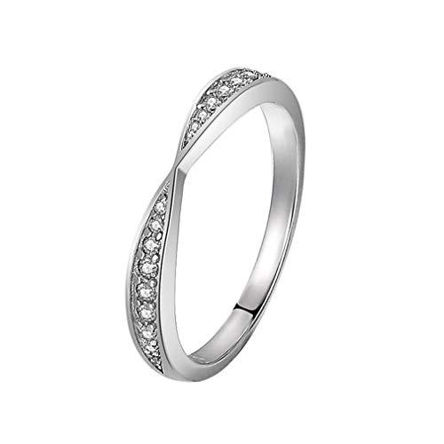 unknow Cereoth Anillo de Plata esterlina 925 para Mujer Anillo de Compromiso con Incrustaciones de Diamantes de simulación Resistente al deslustre Anillo de Bodas(Talla 12.5)