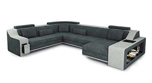 Bullhoff by Giovanni Capellini Wohnlandschaft XXL Stoff Sofa antrazit/Platin grau U-Form Couch Ecksofa Design mit LED-Licht Beleuchtung Berlin