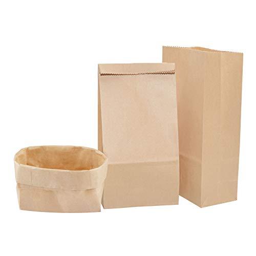 Gimars 100 stück Braune Papiertüten, 18x9x5.5cm Geschenktüten mit Boden aus Kraftpapier, Kraftpapiertüten für Weihnachten, Bastel Geschenke, Kommunion,Hochzeiten, Nüsse, Brottüten