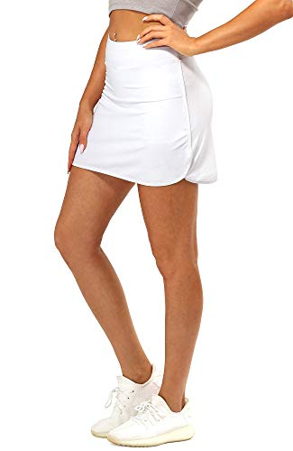 icyzone Tennis Skirts for Women with Pockets Shorts, Golf Athletic Workout Exercise Skorts (White, Medium)