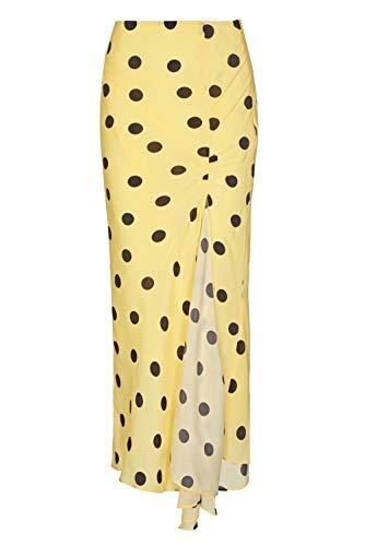 De La Vali Caroline 10 Falda para Mujer, Amarilla con Lunares Negros