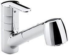 Roca A5A8125C00 Victoria - Mezclador monomando para cocina con caño extraible giratorio y función ducha para aclarado