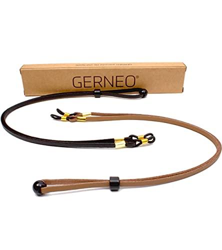 GERNEO® - DAS ORIGINAL - Premium Brillenband Leder aus hochwertigem PU Glatt- und Wildleder Kombination für Lesebrille & Sonnenbrille - schwarz & hellbraun - Befestigung in gold - 2er Pack
