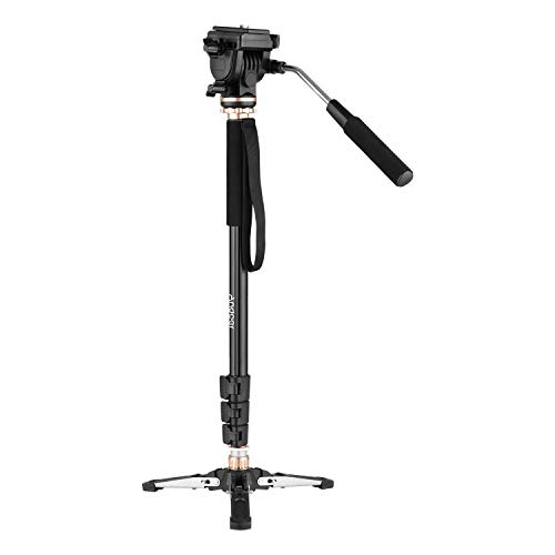 Andoer 4 Section 68 inch Photography Aluminum Monopod Stand 6kg Load Capacity with Pan Tilt Fluid Head Detachable 3-Leg Tripod Base Carry Bag Compatible with Canon Nikon Sony DSLR Cameras Camcorders