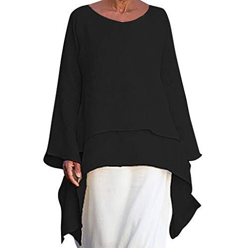 Basic Damen Oberteile aus Leinen Lose Lässige Bluse Long Shirts für Damen Unregelmäßig Saum Tunika Tropfen Einschnitt Kragen Langarmshirt Freizeit Oberteil French Style