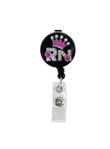 3D Pink Crown RN logo Nurse Rhinestone Retractable Badge Reel/ ID Badge Holder Photo #2