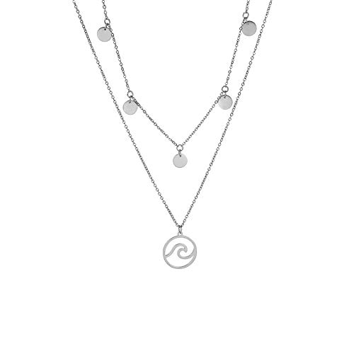 MENDOZZA Damen Hals-Kette Double Layer Petite Collection Wellen Anhänger Edelstahl Collier 18 Karat Damen-Schmuck 5 Coin Wave 46 cm (Silber, 46)