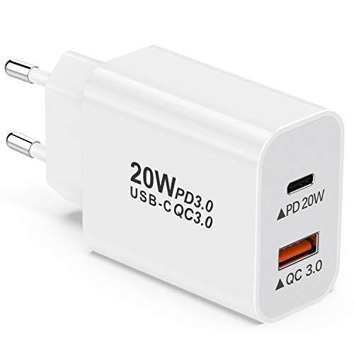 YEONPHOM 20W Cargador USB C Carga Rápida PD Power Delivery 3.0&Quick Charge 3.0 2 Puertos Cargador Móvil Tipo C para iPhone 12 Pro Max/Mini/11/XS/XR/X/8,Samsung Galaxy S20/S10/S9/S8/Note,Huawei,XiaoMi