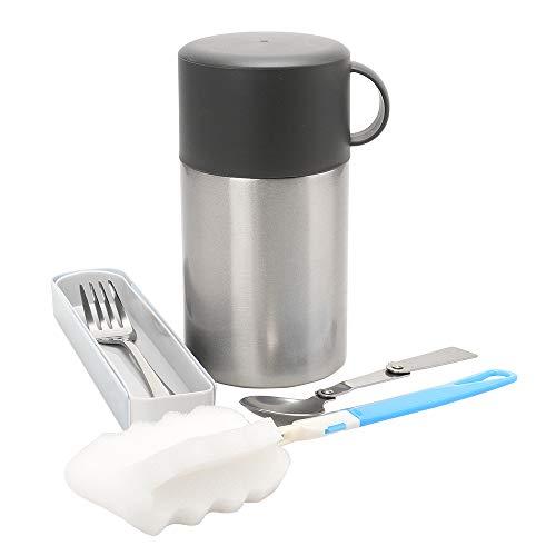 VILLAVIVI thermocontainer voor voedsel 500ML, lunchbox voedselpot, thermocontainer voedselcontainer geïsoleerde container voor voedsel, babyvoeding, kamperen, met lepel, gel en sponsborstel