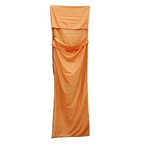 Lwieui Erwachsene Schlafsack Liner beweglicher kampierenden Spielraum Schlafsack Ultra-Light Einzel Polyester-Rohseide gesunder Schlafsack orange Mummy Schlafsäcke (Farbe : Orange, Size : One Size)