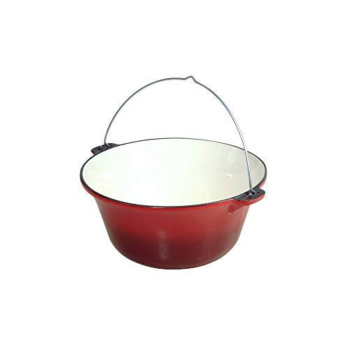 acerto 31193 10,8 Liter Gulaschkessel Gußeisen rot/weiß emailliert - massiver Gulaschkessel 7,5 kg