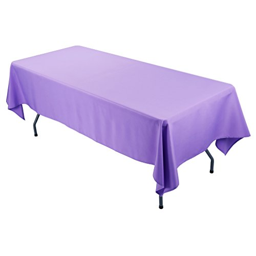 E-TEX Rectangle Tablecloth - 60 x 102 Inch - Lavender Rectangular Table Cloth for 6 Foot Table in Washable Polyester
