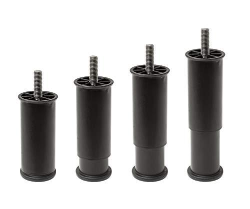 Ipea - 4 Patas Ajustables en Altura para Muebles, Cocina, sofá, armarios y Juegos de 4 Patas Extensibles de 100 a 145 mm, Color Negro, 45 mm de expansión